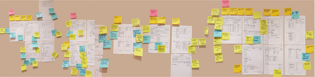 wireframes with feedback documented on post-its